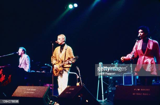 English musicians Mick Talbot Paul Weller and Dee C Lee all of the group the Style Council Red Wedge Tour Manchester Apollo Manchester 1/25/1986...