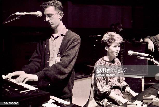 English musicians Richard Coles, of the Communards, & Helen Turner, of the Style Council, perform during the Red Wedge Tour, St Davids Hall, Cardiff,...