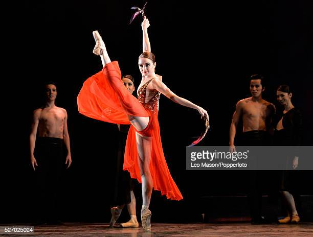 English National Ballet Company performing LEST WE FORGET at the Barbican Theatre London UK Firebird Nancy Osbaldeston Artists of the Company