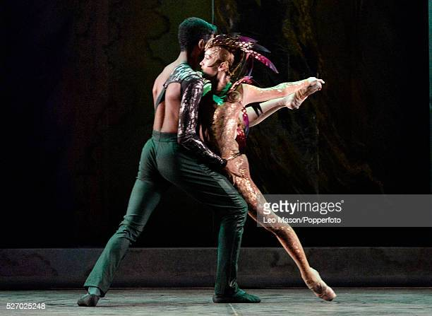 English National Ballet Company performing LEST WE FORGET at the Barbican Theatre London UK Firebird Ksenia Ovsyanick Junor Souza
