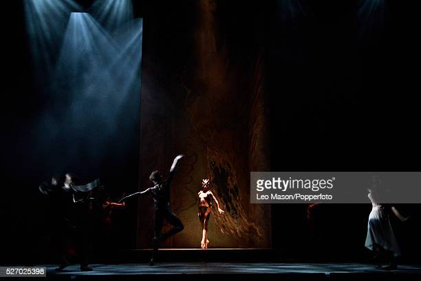 English National Ballet Company performing LEST WE FORGET at the Barbican Theatre London UK Firebird Ksenia Ovsyanick Artists of the Company