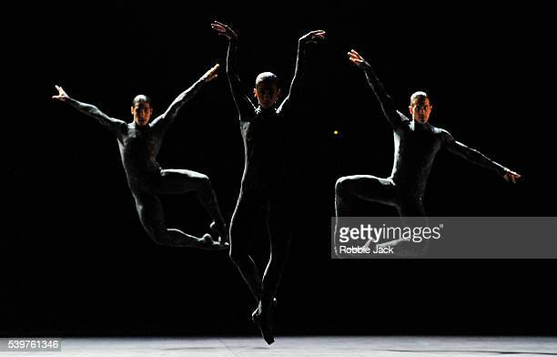 English National Ballet dancers perform Aszure Barton's production of Fantastic Beings at Sadlers Wells Theatre on April 12 2016 in London England
