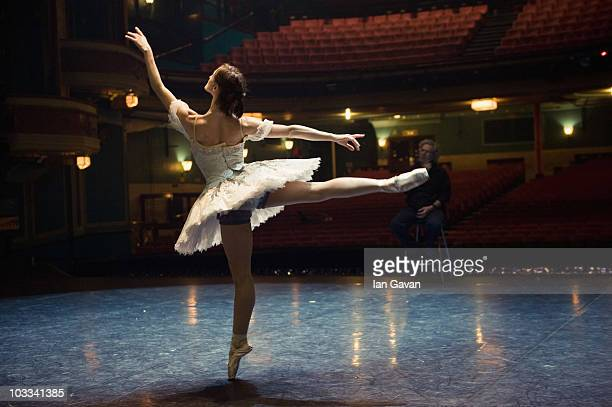 English National Ballet's Artistic Director Wayne Eagling rehearses Adela Ramirez prior to the performance of 'Cinderella' at the Mayflower Theatre...