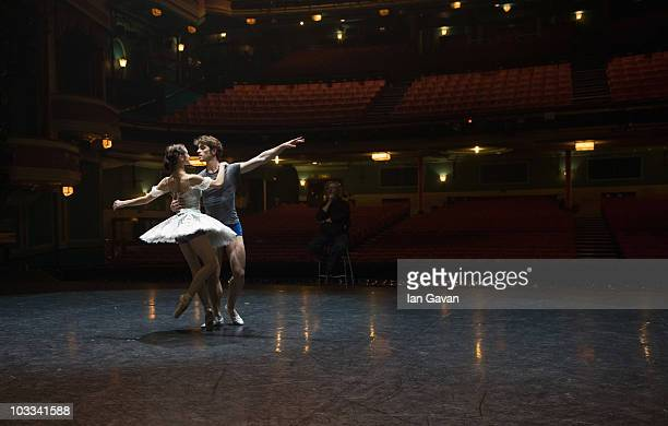 English National Ballet's Artistic Director Wayne Eagling rehearses James Forbat and Adela Ramirez prior to the performance of 'Cinderella' at the...