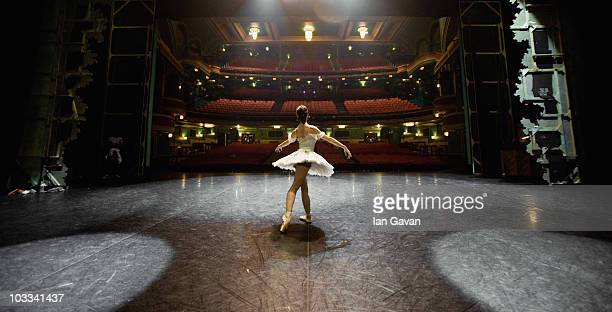 English National Ballet's dancer Adela Ramirez reherses in an empty theatre prior to the performance of 'Cinderella' at the Mayflower Theatre...