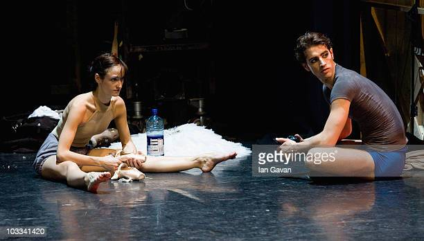 English National Ballet's dancers James Forbat and Adela Ramirez rehearse prior to the performance of 'Cinderella' at the Mayflower Theatre...
