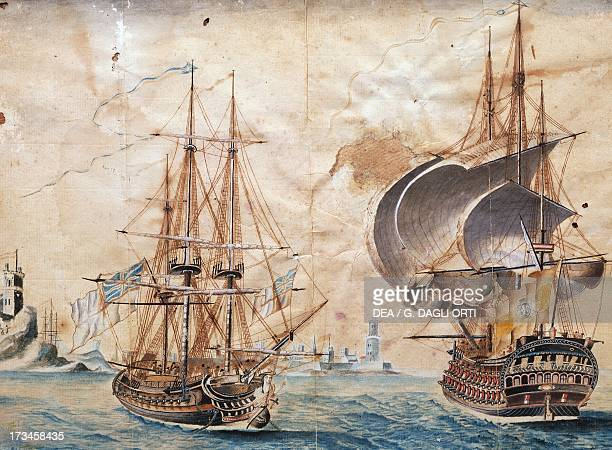 English naval vessels painting England 18th century Seville Museo Maritimo Torre Del Oro