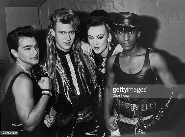 English new romantic pop group Culture Club 1984 Left to right Jon Moss Roy Hay Boy George and Mikey Craig