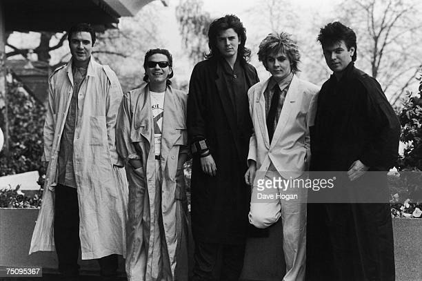 English new romantic pop group Duran Duran 1985 Left to right Simon Le Bon Andy Taylor John Taylor Nick Rhodes and Roger Taylor