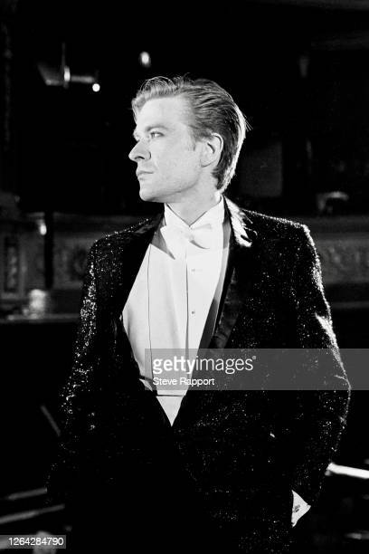 English New Wave and Synth Pop musician Martin Fry, of the group ABC, films the 'Poison Arrow' music video at the Theatre Royal, Stratford East,...