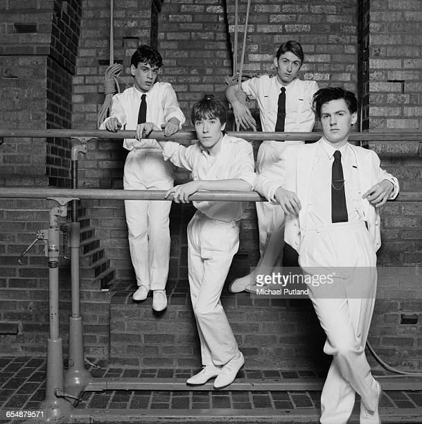 English new wave band Talk Talk 1982 Left to right keyboard player Simon Brenner drummer Lee Harris singer Mark Hollis and bassist Paul Webb