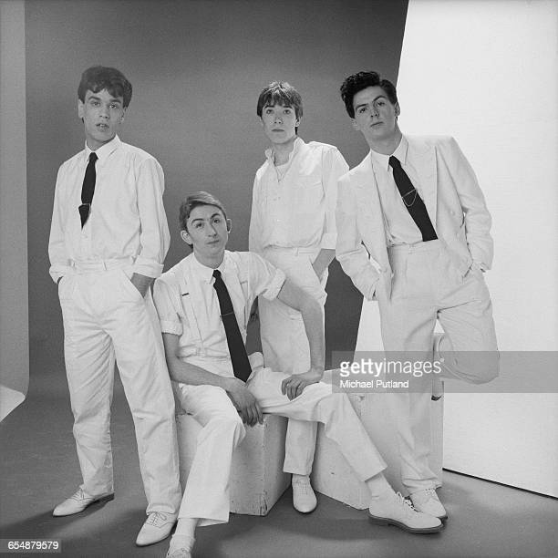 English new wave band Talk Talk 1982 Left to right keyboard player Simon Brenner singer Mark Hollis drummer Lee Harris and bassist Paul Webb
