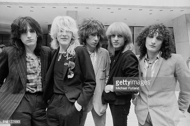 English new wave group Japan New York September 1979 Left to right drummer Steve Jansen singer David Sylvian keyboard player Richard Barbieri bassist...