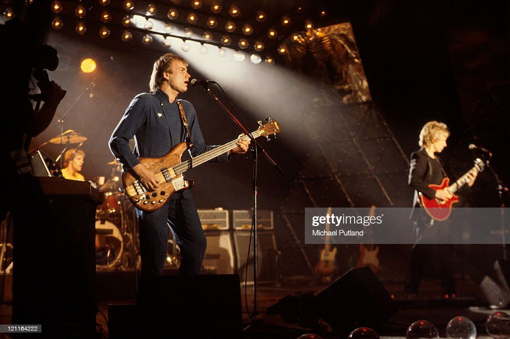 English new wave group The Police performing on the 'Don Kirshner's Rock Concert' TV show, Los Angeles, 6th February 1980. Left to right: Stewart Copeland (drums), Sting and Andy Summers.