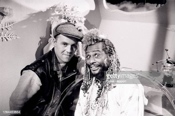English New Wave musician Thomas Dolby and American Funk musician George Clinton film the former's 'May The Cube Be With You' music video, London,...