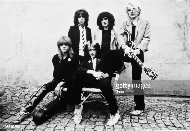 English new wave rock band Japan circa 1977 From left to right Mick Karn Rich Barbieri Steve Jansen Rob Dean David Sylvian