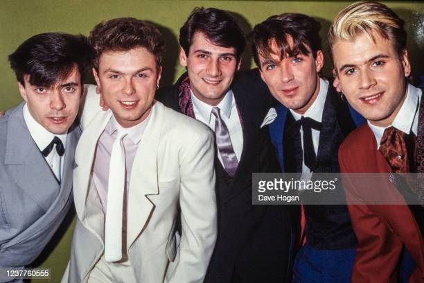 English new-romantic pop group Spandau Ballet, May 1983. Left to right: John Keeble, Gary Kemp, Tony Hadley, Martin Kemp, Steve Norman