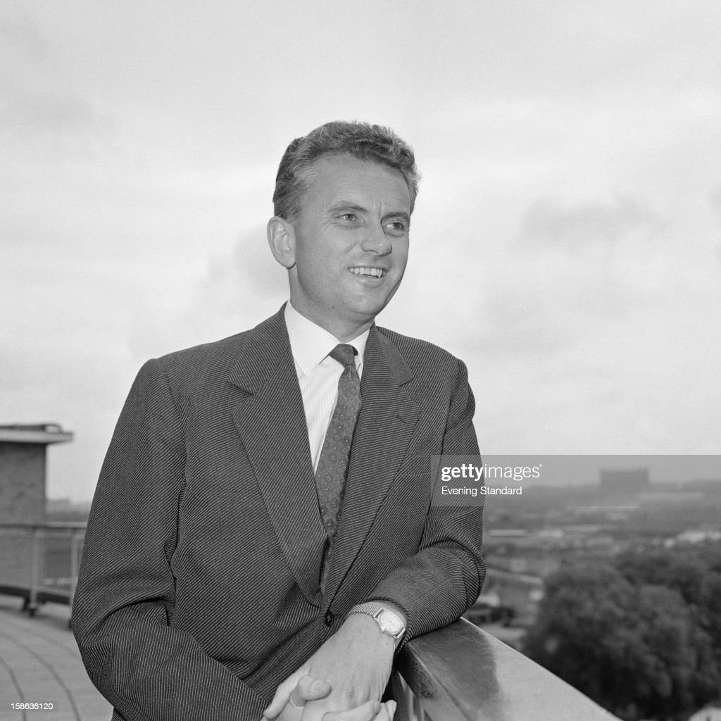 English newsreader Kenneth Kendall (1924 - 2012) on the roof of the BBC Television Centre, White City, London, 17th July 1961. Kendall is about to leave the BBC after thirteen years to work as a freelance newsreader.
