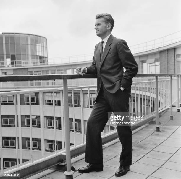 English newsreader Kenneth Kendall on the roof of the BBC Television Centre White City London 17th July 1961 Kendall is about to leave the BBC after...