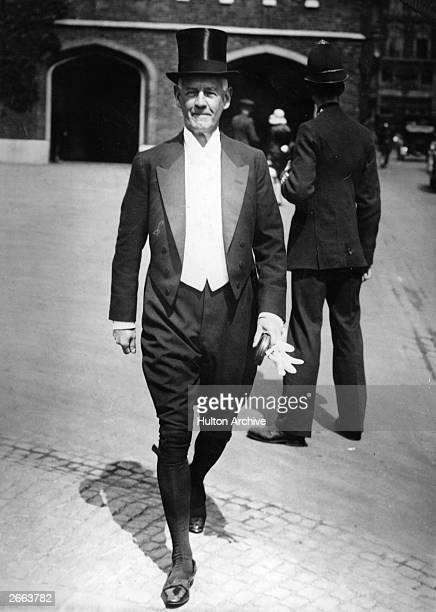 English novelist and dramatist John Galsworthy arriving at St James Palace London for an investiture held by the Prince of Wales
