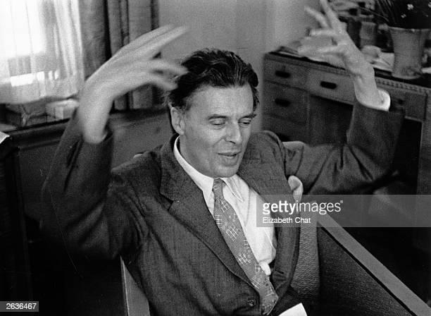 English novelist and essayist Aldous Leonard Huxley during an interview in London Original Publication Picture Post 4662 Aldous Huxley pub 1948