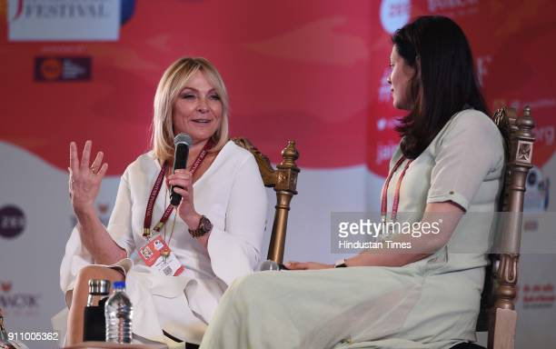 English novelist and screenwriter Helen Fielding in conversation with Meru Gokhale during the 'Bridget Jones Diaries' session at the 3rd day of Zee...