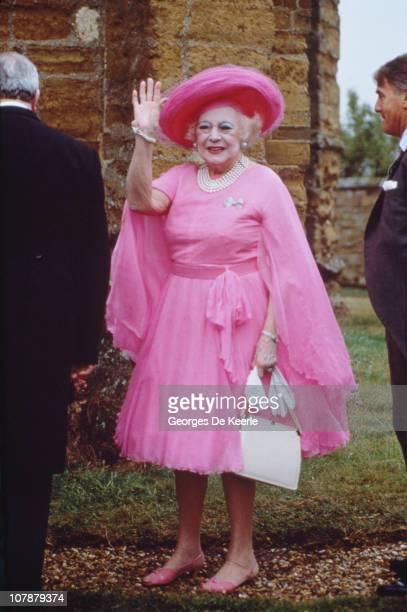 English novelist Barbara Cartland at the wedding of Charles Spencer, 9th Earl Spencer and Catherine Lockwood at Great Brington, Northamptonshire,...