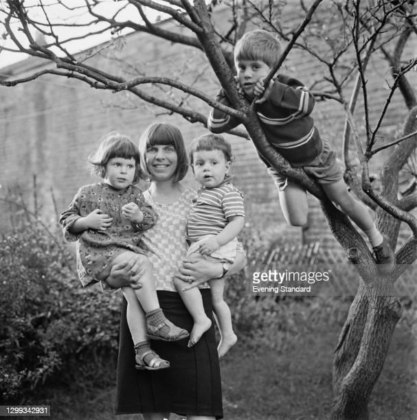 English novelist Margaret Drabble with her children Rebecca Swift , Joe Swift and Adam Swift, UK, 21st October 1966.