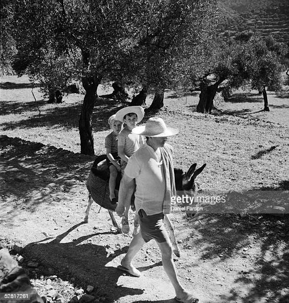 English novelist poet and scholar Robert Graves leads his sons William and Juan on a donkey through an olive grove to the beach at Deya Majorca...