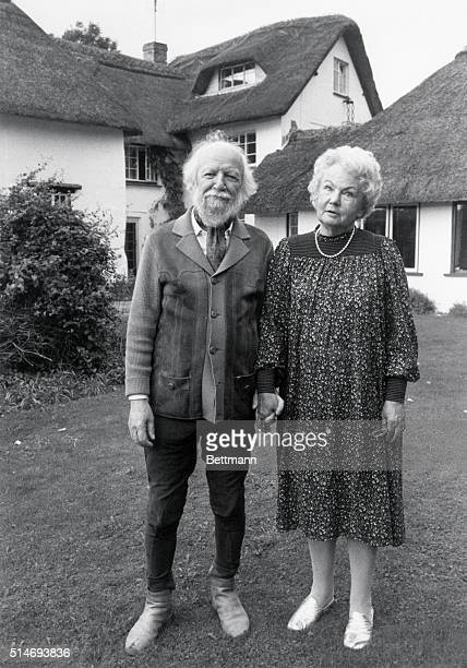English novelist William Golding and his wife Ann Golding in their Wiltshire garden. Sir William Golding won the 1983 Nobel Prize for his dark novels...
