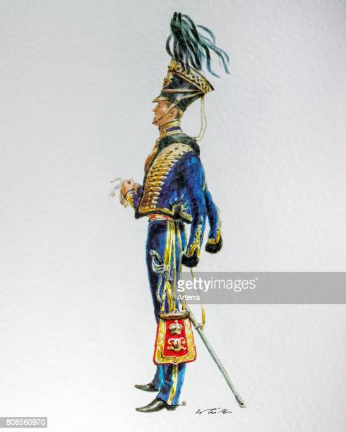 English officer in uniform of the 1850 7th Queen's Own Hussars cavalry regiment in the British Army