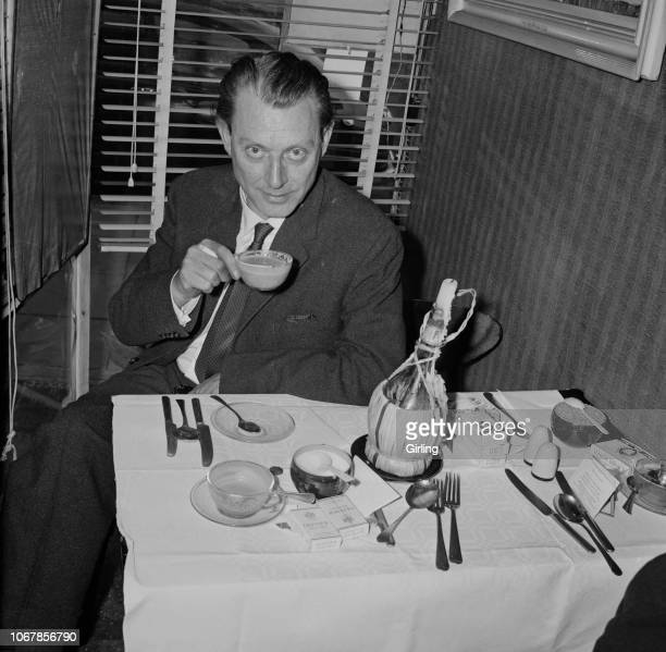 English osteopath and artist Stephen Ward having a cappuccino in a cafe after being allowed bail London UK 3rd July 1963