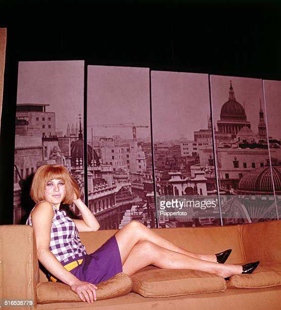 English painter and actress Pauline Boty posed on stage during the production of the play 'Afternoon Men' at the New Arts Theatre in London in 1964.