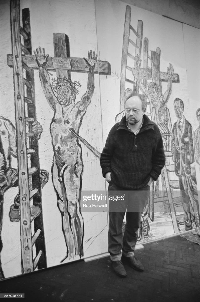 English Painter And Founder Of The Kitchen Sink Realism Style John Bratby  Near One Of His