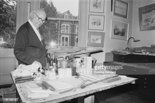 English painter artist and illustrator Edward Ardizzone at work in his studio in Maida Vale London on 28th October 1970