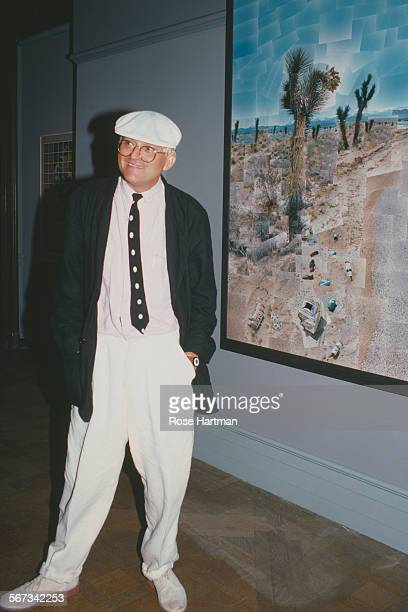 English painter David Hockney attends his exhibition preview at the Emmerich Gallery New York City circa 1986