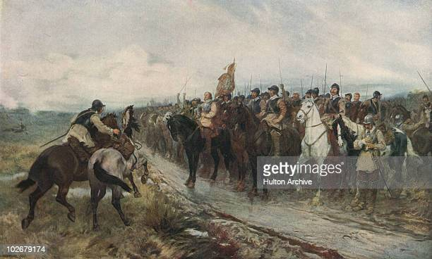 English Parliamentarian leader Oliver Cromwell and his men singing the 117th Psalm at the Battle of Dunbar Scotland during the Third English Civil...
