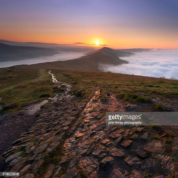 English Peak District sunrise, UK.