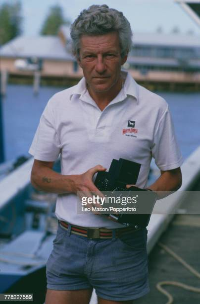 English photographer Patrick Anson 5th Earl of Lichfield pictured holding a Rolleiflex medium format SLR camera at Cowes on the Isle of Wight England...