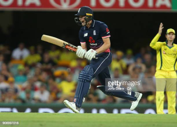 English player Chris Woakes makes a call during game two of the One Day International series between Australia and England at The Gabba on January 19...