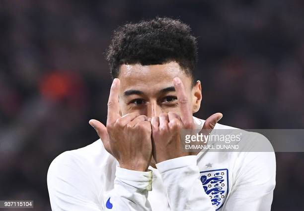 English player Jesse Lingard celebrates after scoring during a friendly football match between the Netherlands and England at the Amsterdam Arena in...