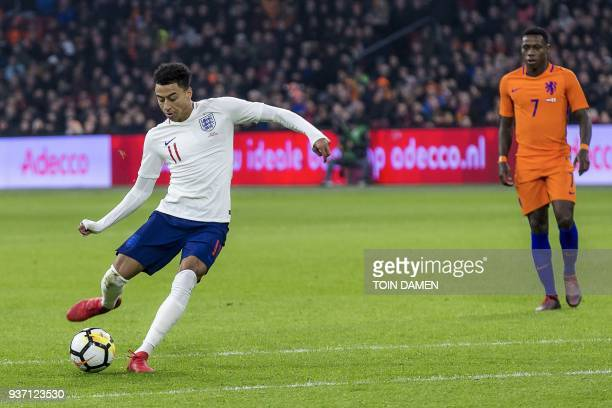 English player Jesse Lingard scores a goal during a friendly football match between the Netherlands and England at the Amsterdam Arena in Amsterdam...