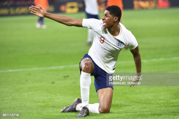 English player Marcus Rashford reacts during a friendly football match between the Netherlands and England at the Amsterdam Arena in Amsterdam on...