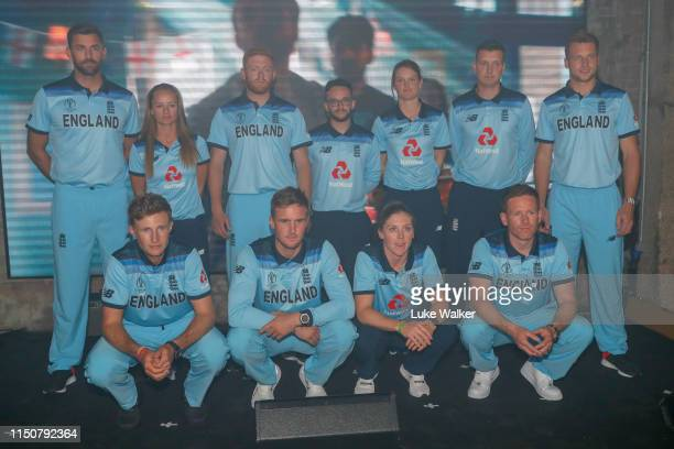 English players pose with the new kit during the England Cricket World Cup Kit Launch on May 21 2019 in London England