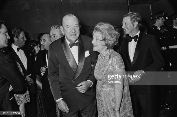 English playwright actor and singer Noël Coward at the premiere of the film 'Young Winston' July 1972