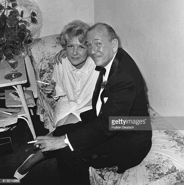 English playwright and actor Noel Coward with Elaine Stritch ca 1965