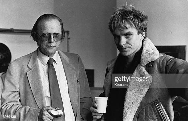 English playwright and dramatist Dennis Potter left with pop singer and bass player Gordon Sumner better known as Sting of the group The Police who...