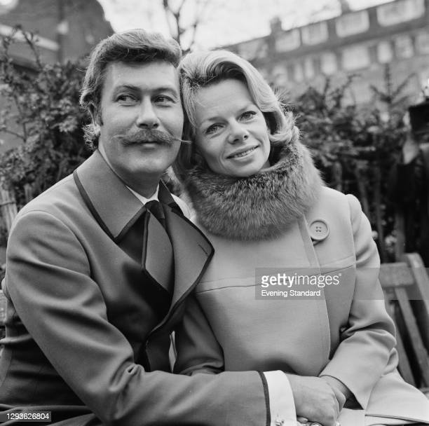 English playwright John Osborne with actress Jill Bennett on the day of their wedding in London, UK, 19th April 1968.