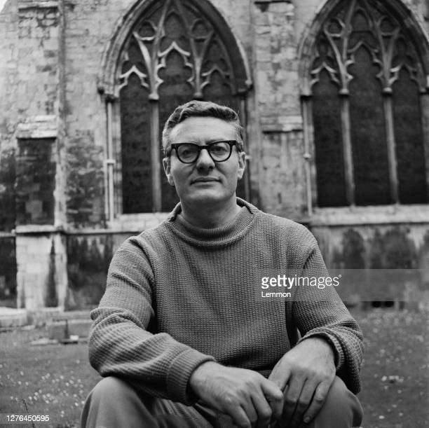 English playwright Peter Shaffer outside Chichester Cathedral UK 28th July 1965