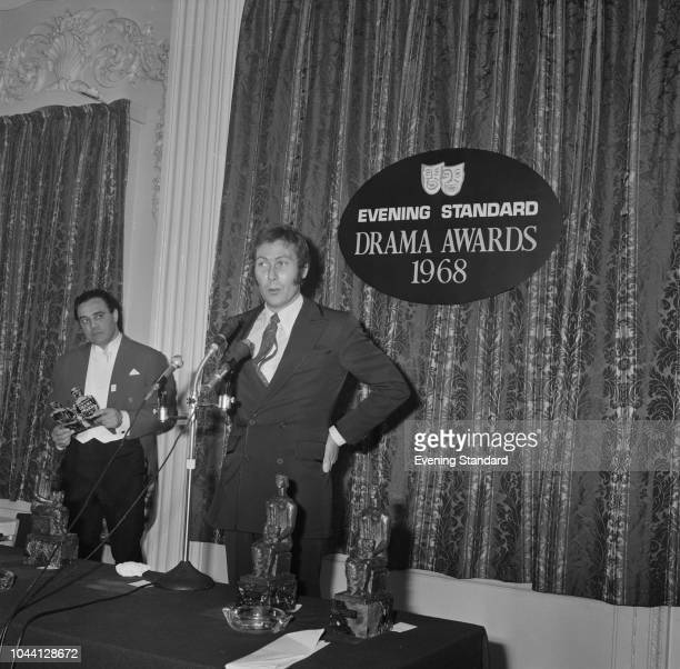 English playwright, screenwriter and actor John Osborne at the Evening Standard Drama Awards, London, UK, 21st January 1969.